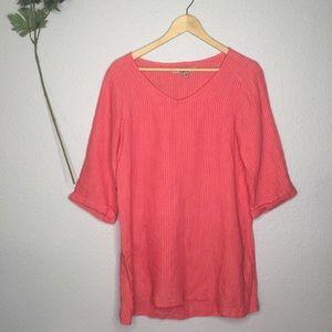 FLAX 100% Linen Cuffed Tunic Orange Pink pinstripe